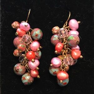 Pink cultured pearl and beaded earrings